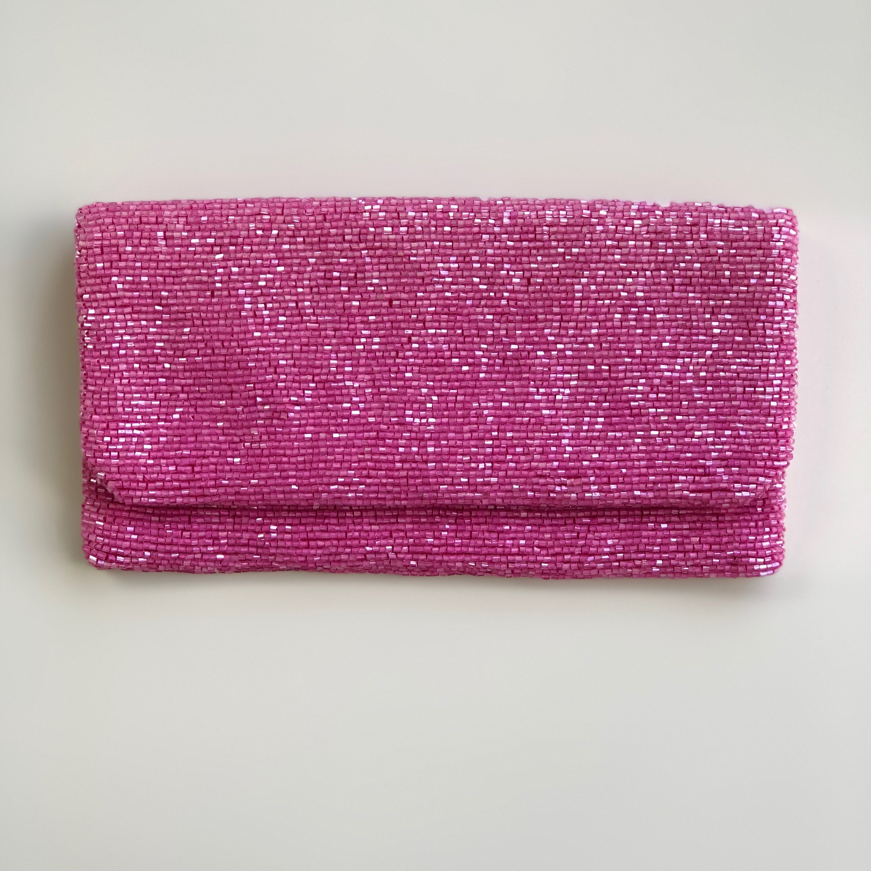 f89916a2a03 Pink Beaded Fold-Over Clutch